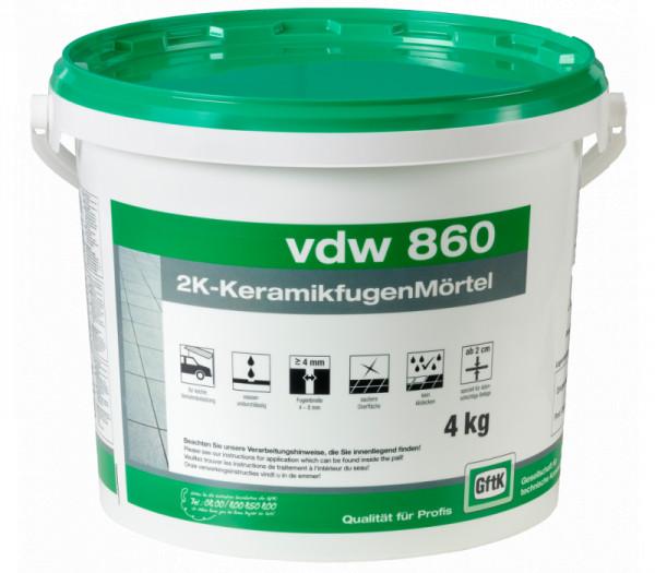 GftK vdw 860 Keramikfugenmörtel 2K wasserundurchlässig 4 kg Eimer dunkelgrau