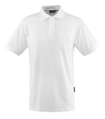 Mascot Polo - Shirt Borneo Gr. M weiß Poloshirt mit Brusttasche und Knopfleiste