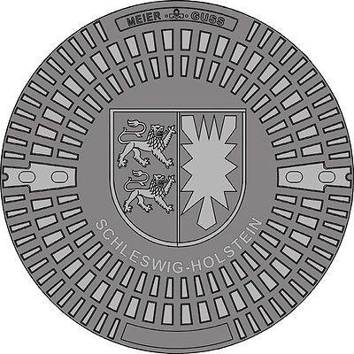 Gully Kanaldeckel Schachtdeckel Motiv Schleswig-Holstein - Wappen, Klasse A15.50