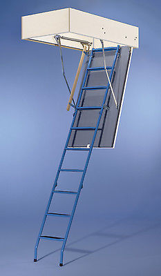 Wellhöfer Bodentreppe Dachbodentreppe Stahlblau 130x70 cm ungedämmt