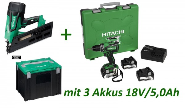 Hitachi NR1890DBCL Akku-Streifennagler 34° + DS18DBSL Bohrschrauber 3x5,0Ah Akku