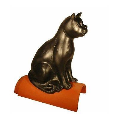 Purr Dachschmuck Dachfigur Firstschmuck Firstfigur Katze 40 cm schwarz engobiert
