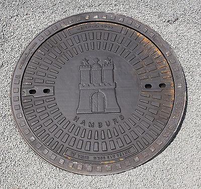 Gully Kanaldeckel Schachtdeckel Motivdeckel Hamburg Wappen