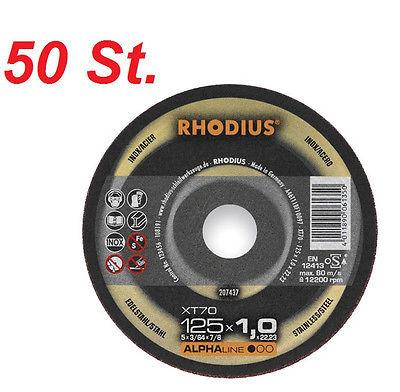 RHODIUS XT70 125 mm, 50 Stück Trennscheibe extra dünn Millimeterscheibe Stahl