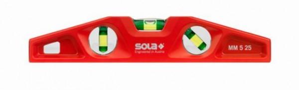 SOLA Torpedo-Wasserwaage MM 5 25 aus Druckguss mit Magnet, Magnetwasserwaage