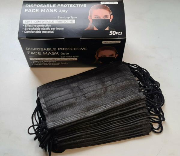 50 Stück - Einweg Mundschutz SCHWARZ Gesichtsmaske 3-lagig Atemschutz Maske