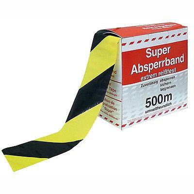 Absperrband Flatterband Warnband gelb/schwarz, 500 Meter
