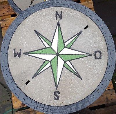 EnviroTop Kanaldeckel Schachtdeckel Schachtabdeckung Windrose weiss / grün
