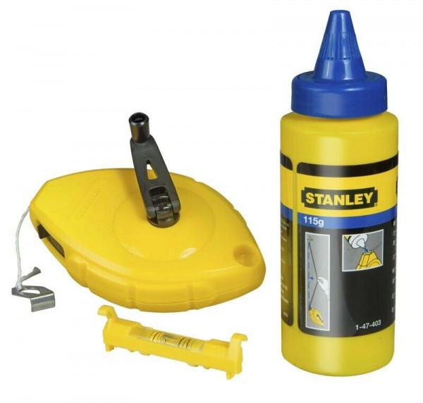 STANLEY Schlagschnur-Set 0-47-443 FatMax mit blauer Kreide + Schnurwasserwaage