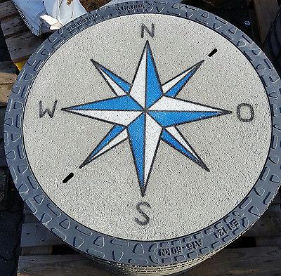 EnviroTop Kanaldeckel Schachtdeckel Schachtabdeckung Windrose blau / weiss
