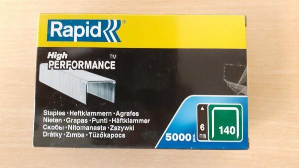 5.000 Heftklammern Tackerklammern Rapid Typ 140, 6 mm, für Hammertacker