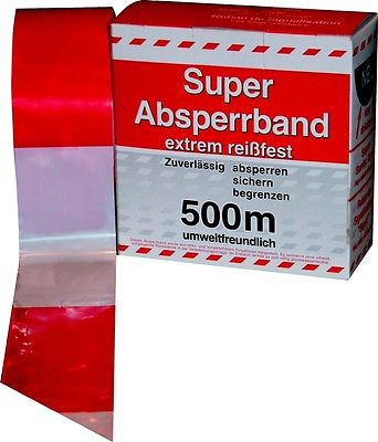 Absperrband Flatterband Warnband rot-weiß, 500 Meter